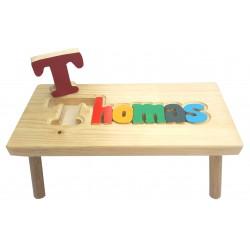 petit banc personnalis en bois multicolore marchepied tabouret nom prenom enfants bebes julie. Black Bedroom Furniture Sets. Home Design Ideas