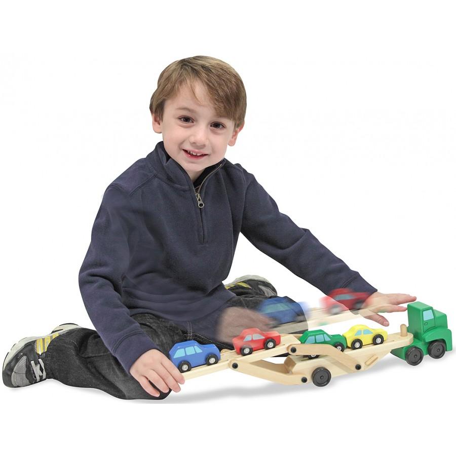 camion transporteur voitures bois melissa doug jouet. Black Bedroom Furniture Sets. Home Design Ideas