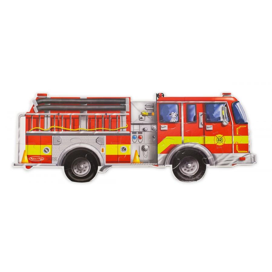 Casse tete grosses pieces gros morceaux melissa doug camion pompier enfants - Camion pompier enfant ...