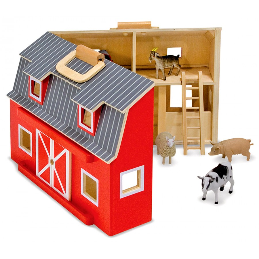 Melissa and doug barn grange table animaux ferme rouge for Table enfant rouge