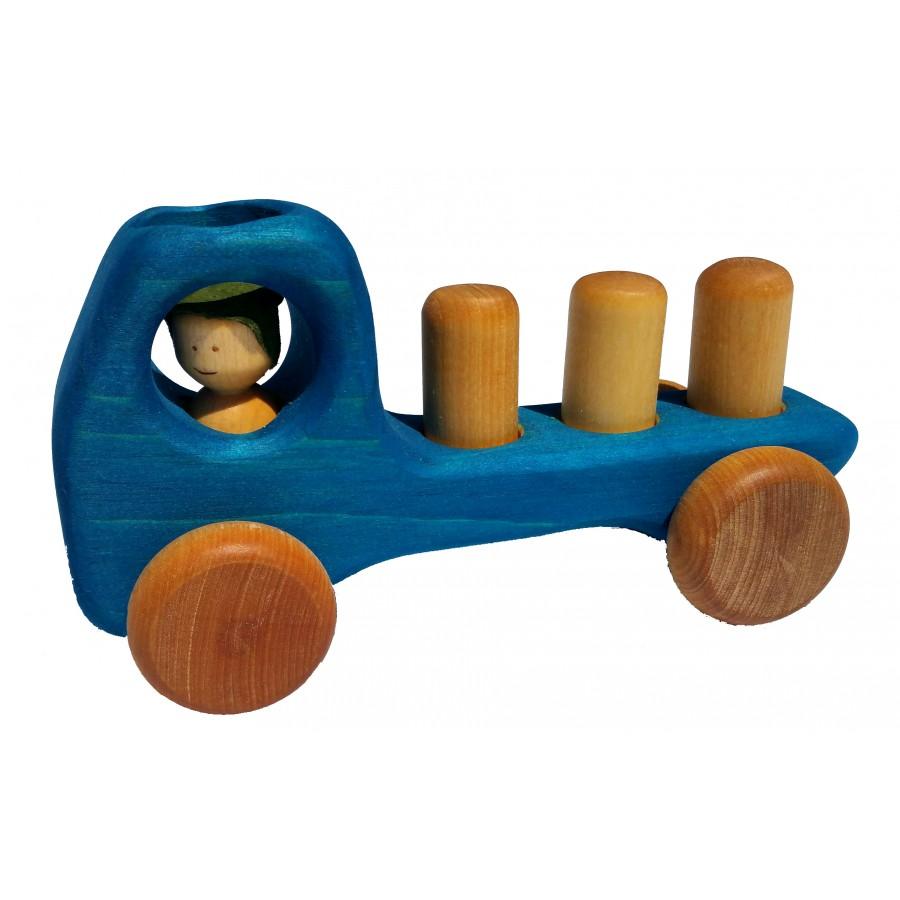 Camion blocs bleu en bois antan jouet la main - Jouet en bois enfant ...