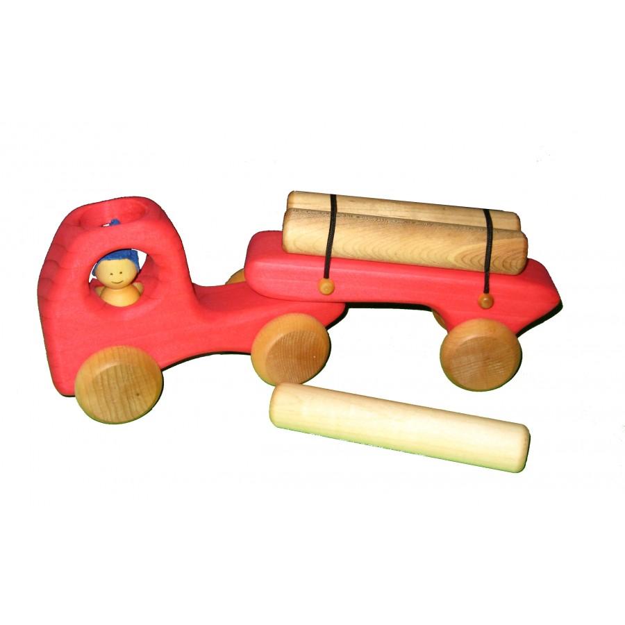 Camion remorque rouge et ses 3 billots de bois jouet - Jouet en bois enfant ...