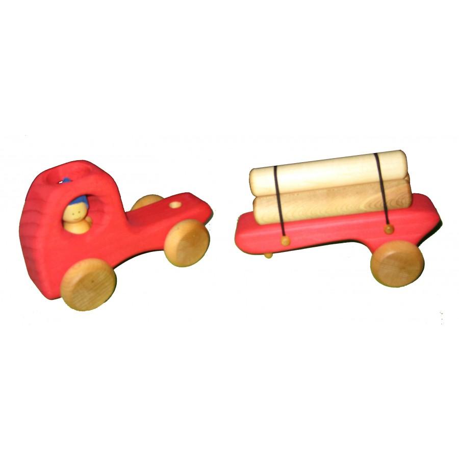 camion remorque rouge et ses 3 billots de bois jouet fait au qu bec qu b cois atelier cheval. Black Bedroom Furniture Sets. Home Design Ideas