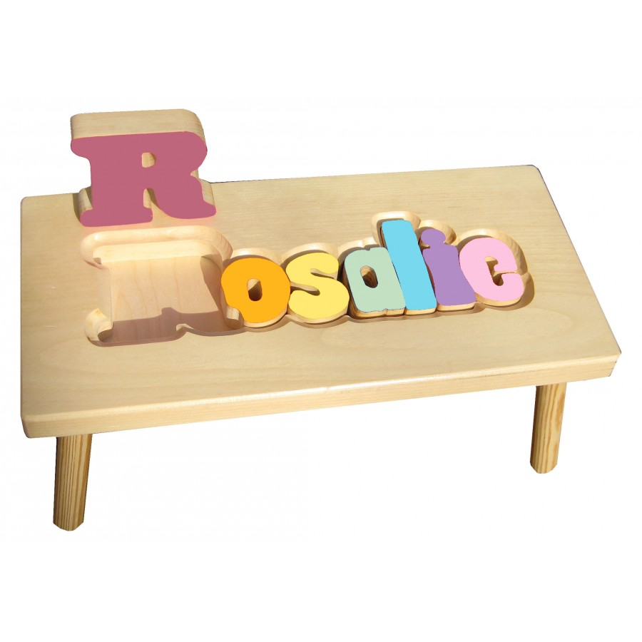 Personalized Wooden Stool Quot Pastel Quot Made In Canada Name