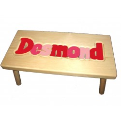 "Personalized Wooden Stool ""Red & Pink"""