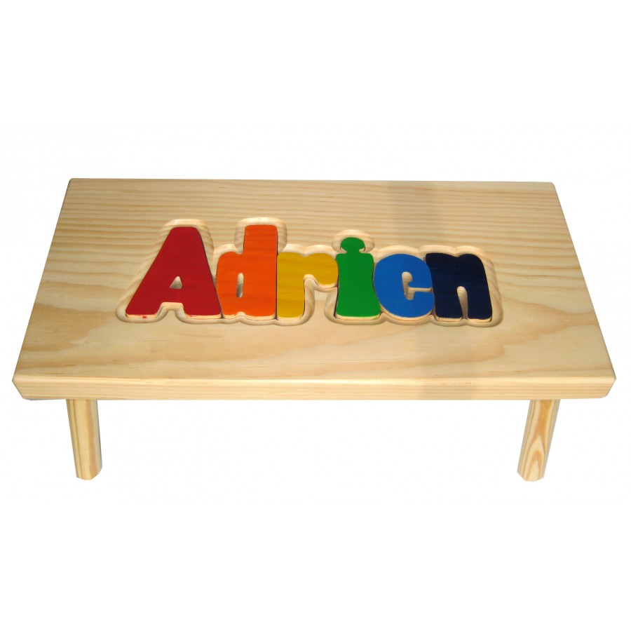 Personalized Wooden Stool Primary Colors Kids Wood