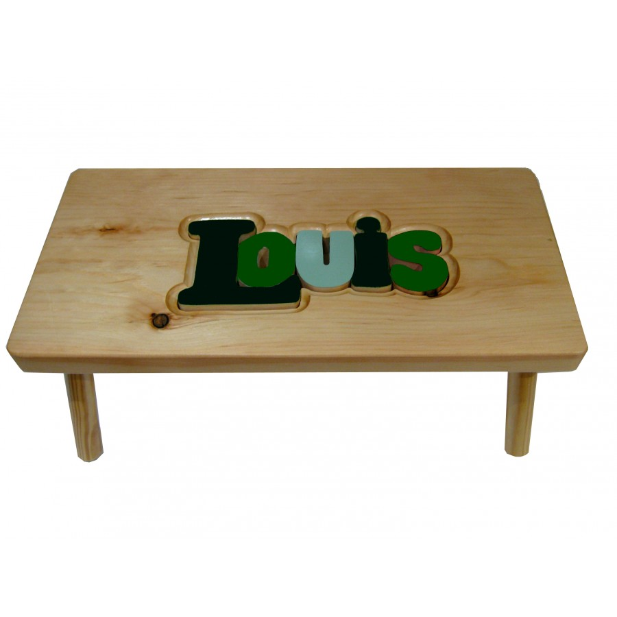 petit banc personnalis en bois vert marchepied tabouret fait au qu bec chaise gar on nom. Black Bedroom Furniture Sets. Home Design Ideas