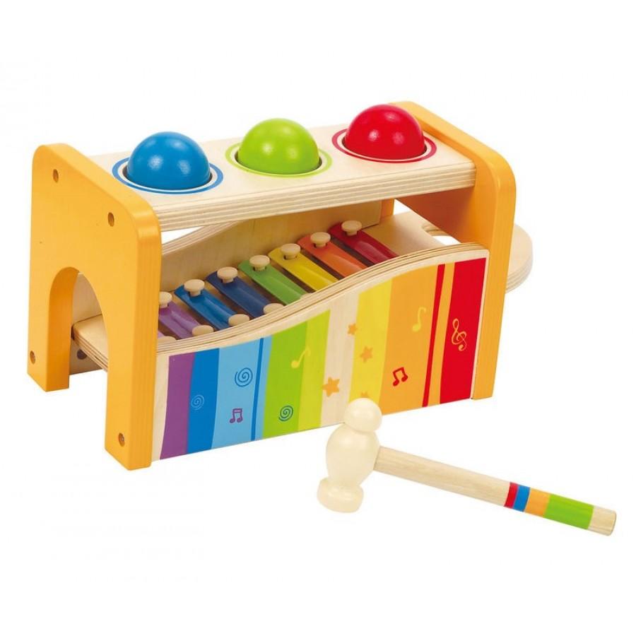 banc d 39 activit s marteler avec xylophone hape jouet en. Black Bedroom Furniture Sets. Home Design Ideas