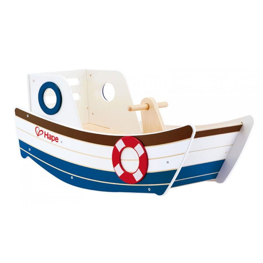 bateau bascule en bois jouet pour b b s et enfants balance chaise cheval hape cpe. Black Bedroom Furniture Sets. Home Design Ideas