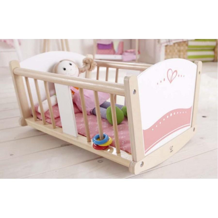 berceau bascule pour poup e en bois hape rose sieste dormir dodo endormir b b jouet. Black Bedroom Furniture Sets. Home Design Ideas