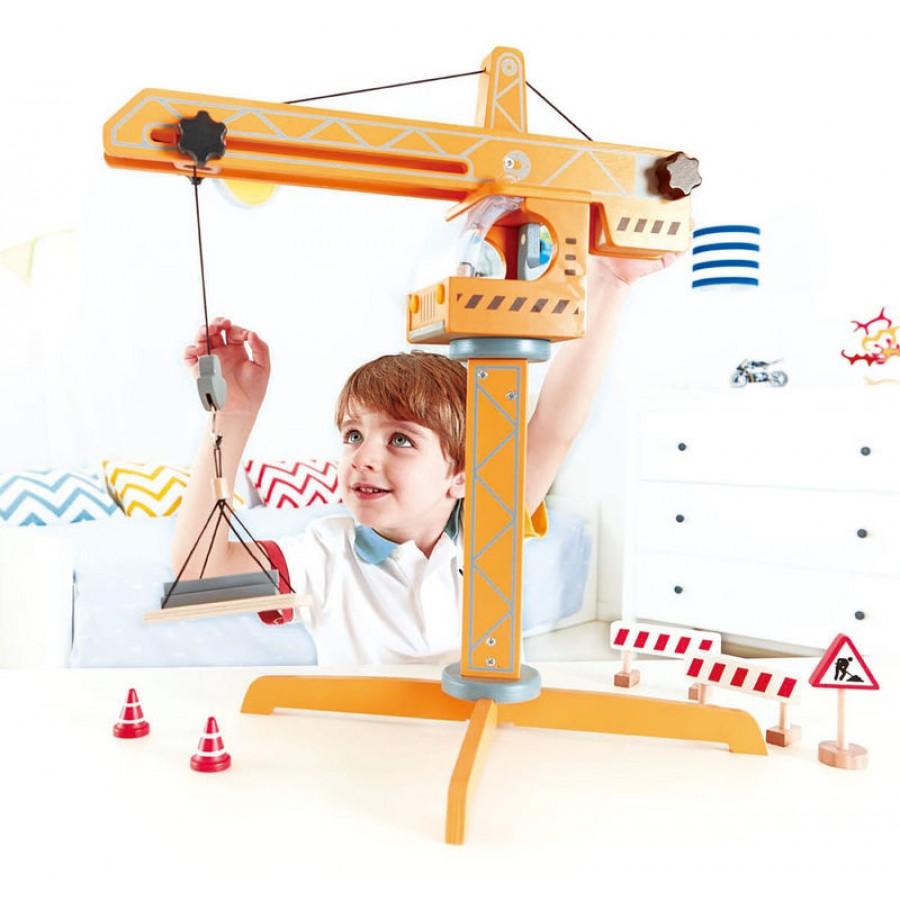 grue jaune g ante en bois hape jouet en bois construction grande gar on cpe garderie. Black Bedroom Furniture Sets. Home Design Ideas