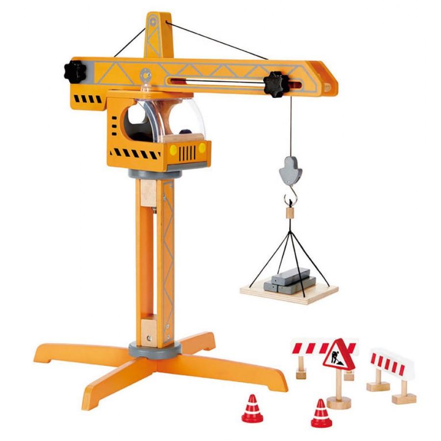 Grue jaune g ante en bois hape jouet en bois construction grande gar on - Jeux de grue de construction gratuit ...