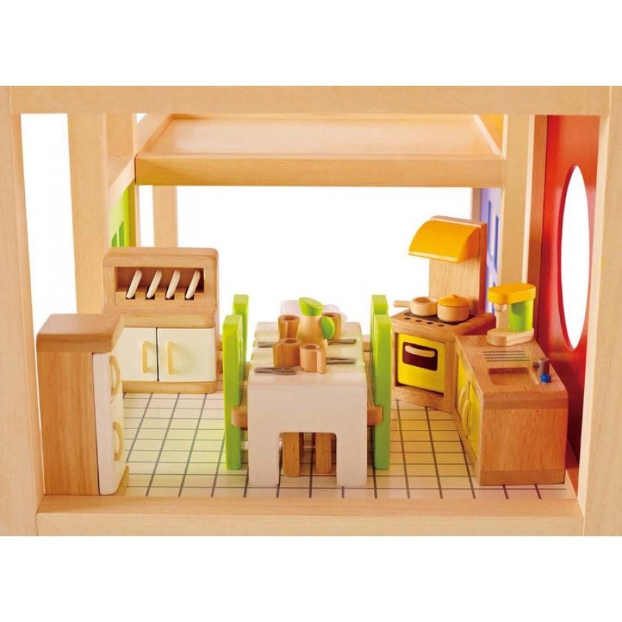 meuble de cuisine pour maison de poup es hape fait en bois r frig rateur po le meuble. Black Bedroom Furniture Sets. Home Design Ideas