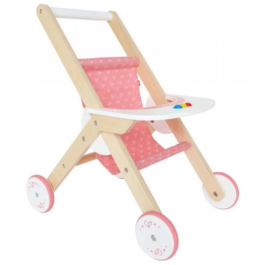 poussette pour poup e en bois hape rose carrosse pousser b b jouet enfants carosse. Black Bedroom Furniture Sets. Home Design Ideas