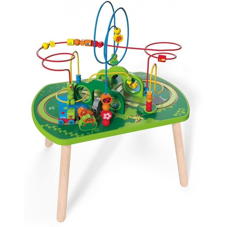 table d 39 activit un train dans la jungle hape jouet en bois arbres singes perroquets. Black Bedroom Furniture Sets. Home Design Ideas
