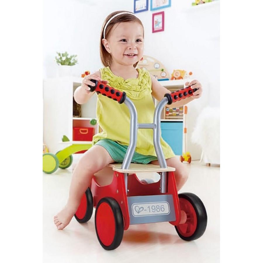 trotteur porteur rouge jouet en bois hape convertit trottinette marchette trotte b b. Black Bedroom Furniture Sets. Home Design Ideas