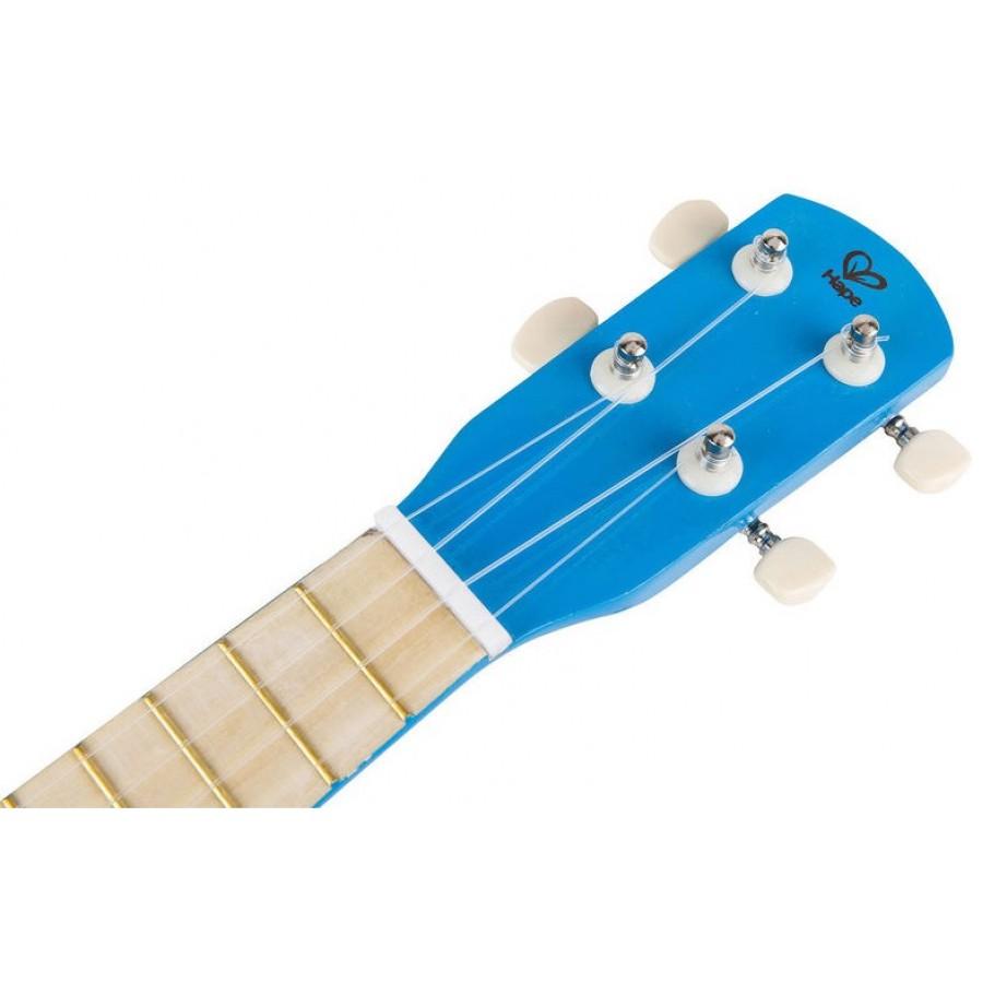 Ukulele bleu hape petite guitare fait en bois tilleul for Musique piscine