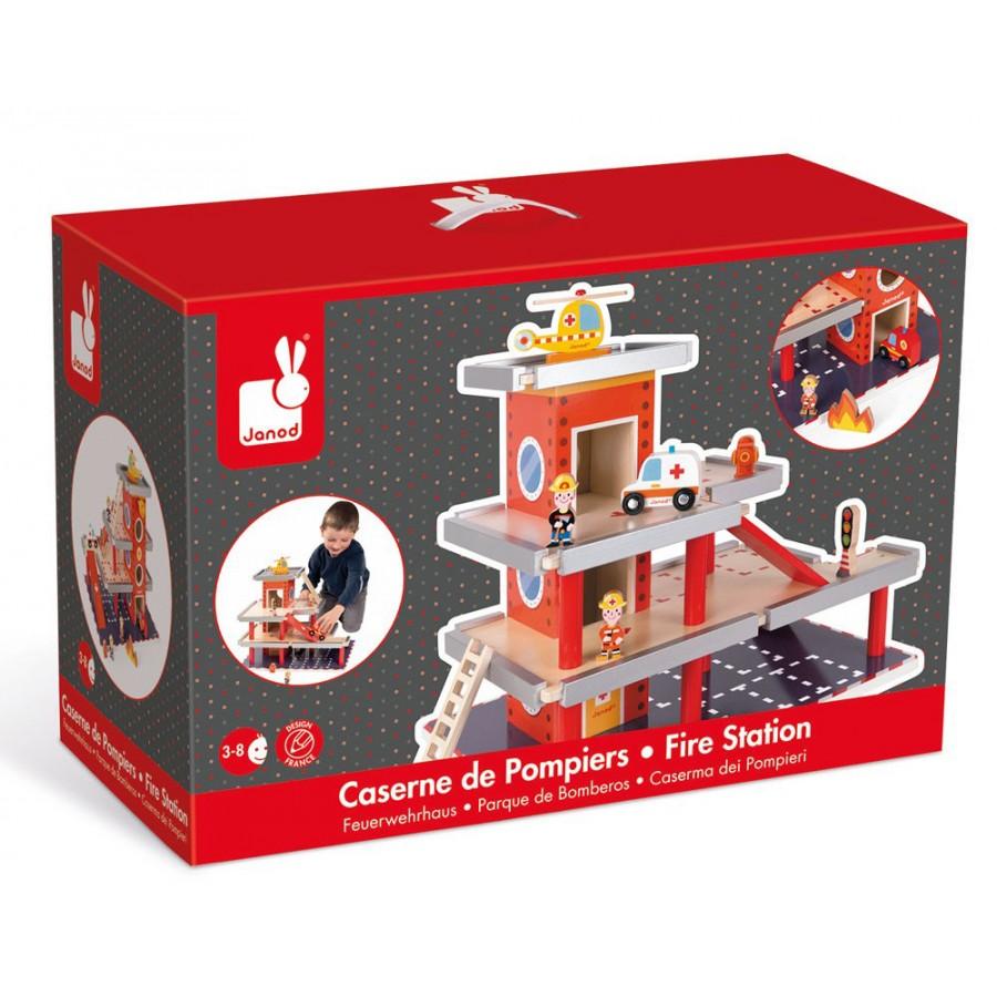 wooden firestation wood toys garage fire truck janod red. Black Bedroom Furniture Sets. Home Design Ideas