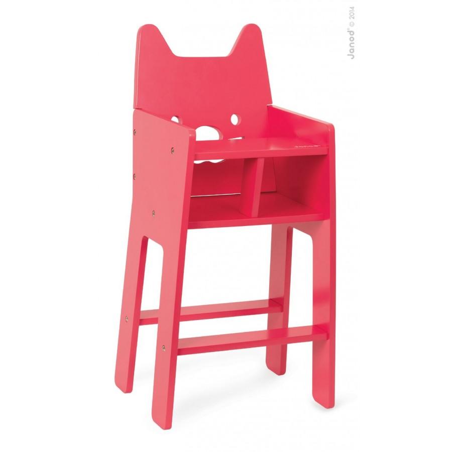 Chaise haute rose en bois pour poup e janod for Chaise haute pour poupon