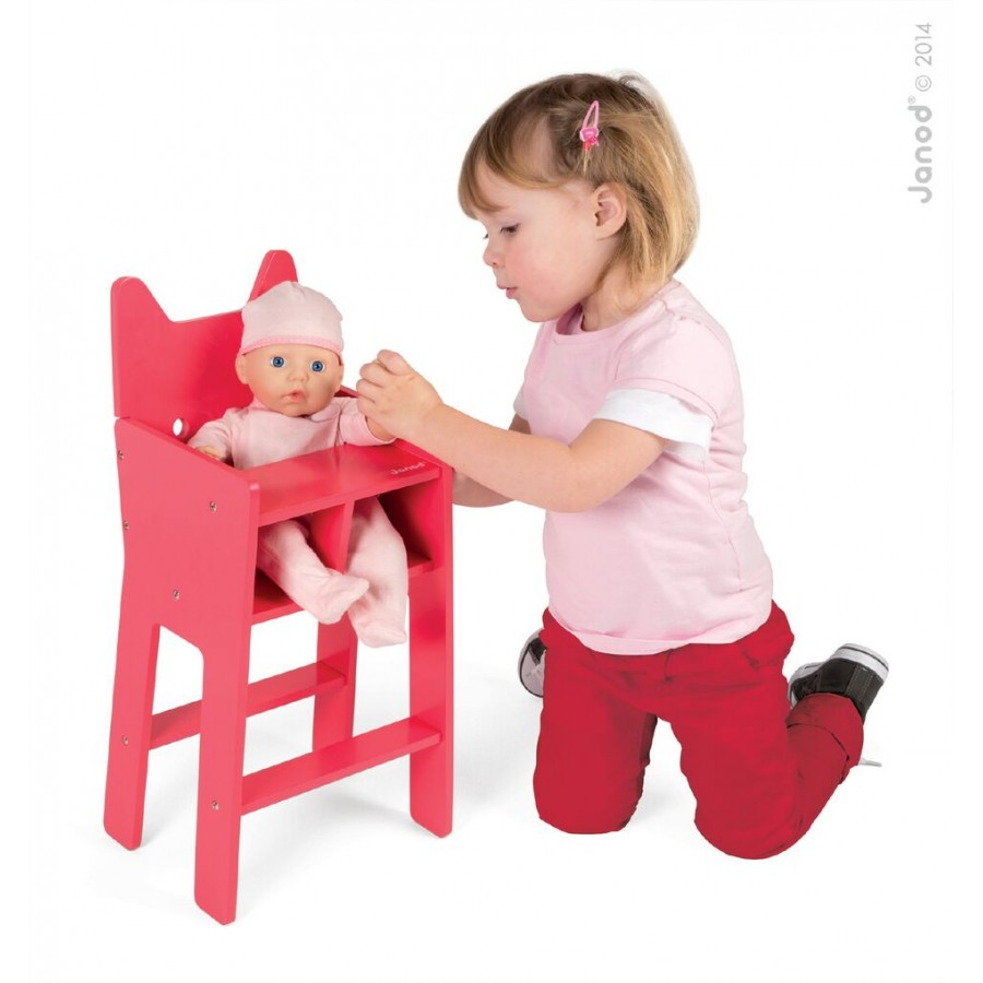 pink wooden doll high chair janod kids toys girl. Black Bedroom Furniture Sets. Home Design Ideas
