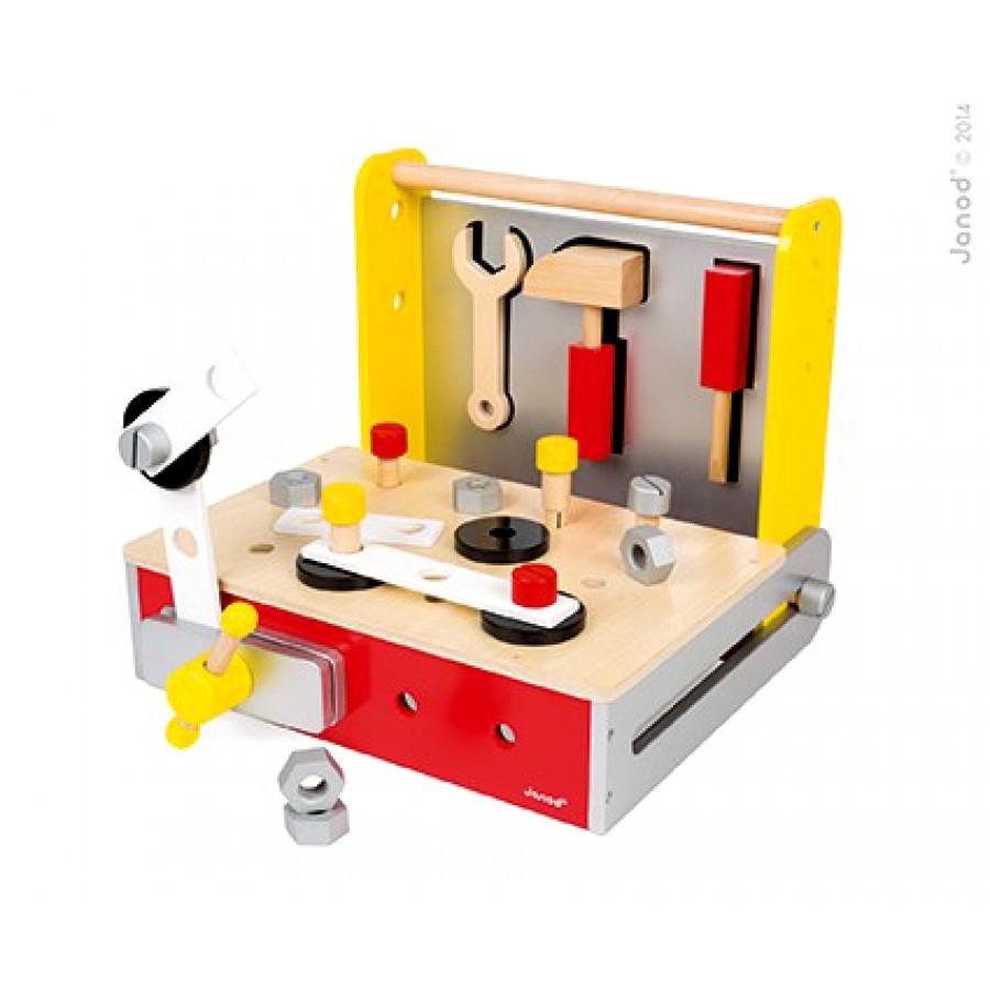 tabli pliable et outils en bois janod coffre. Black Bedroom Furniture Sets. Home Design Ideas