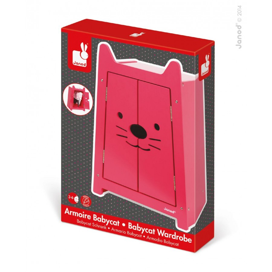 garde robe rose en bois poup e enfants b b s janod babycat 3 4 5 6 ans jouet en. Black Bedroom Furniture Sets. Home Design Ideas