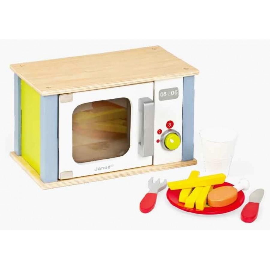 micro-onde, en, bois, janod, cuisson, aliments, nourriture