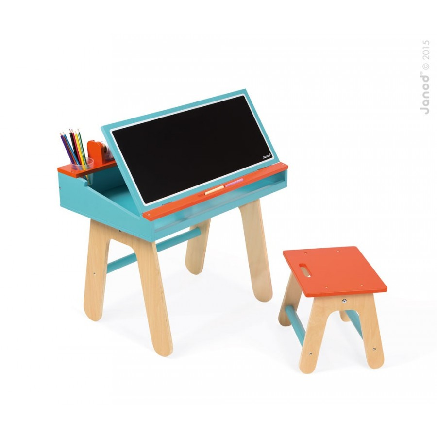 pupitre orange et bleu pour enfants tableau petit banc table travail cole janod orange. Black Bedroom Furniture Sets. Home Design Ideas