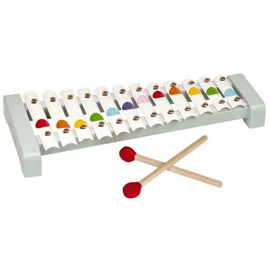 Xylophone en m tal janod base de bois 12 tons enfants for Construction xylophone bois