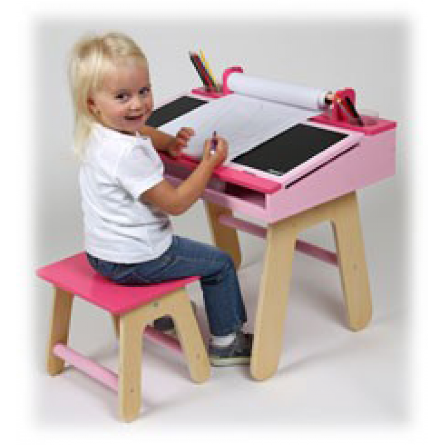 pupitre rose pour enfants tableau petit banc table travail cole janod rose fille. Black Bedroom Furniture Sets. Home Design Ideas