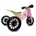 Tricycle convertible rose 2 en 1 en bois
