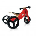 Tricycle convertible rouge 2 en 1 en bois