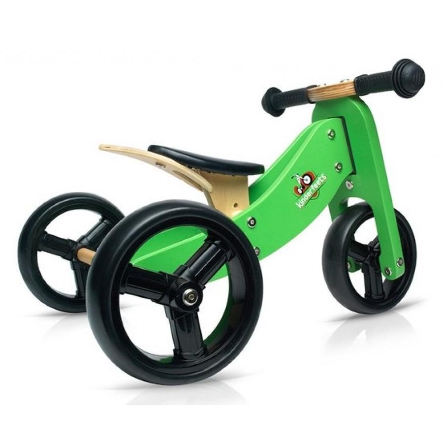 green tiny tot 2 in 1 kinderfeet kids wooden bike. Black Bedroom Furniture Sets. Home Design Ideas