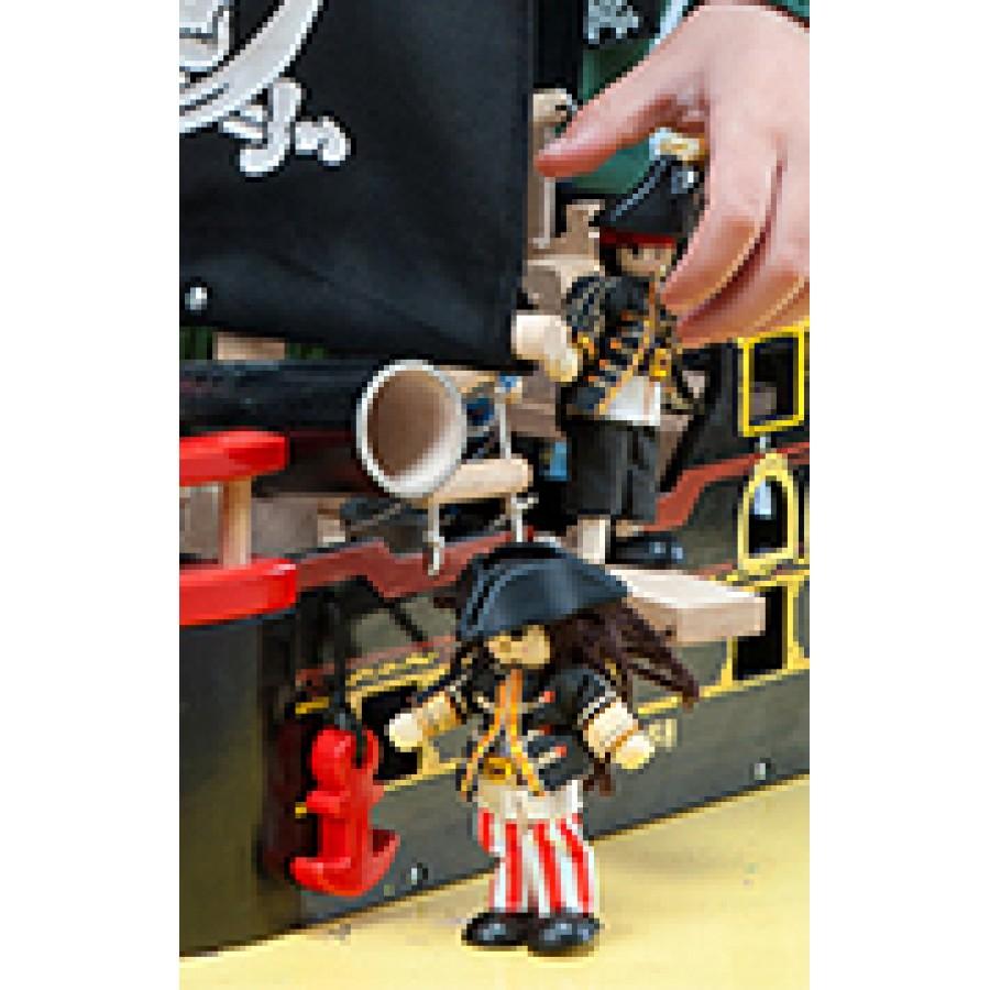 pirates 3 personnages flexibles en bois matelot poup e gar on bonhomme jambe de bois le. Black Bedroom Furniture Sets. Home Design Ideas