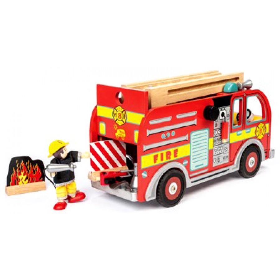 camion de pompier rouge en bois gros caserne feu jouet enfants le toy van qualit gar on. Black Bedroom Furniture Sets. Home Design Ideas
