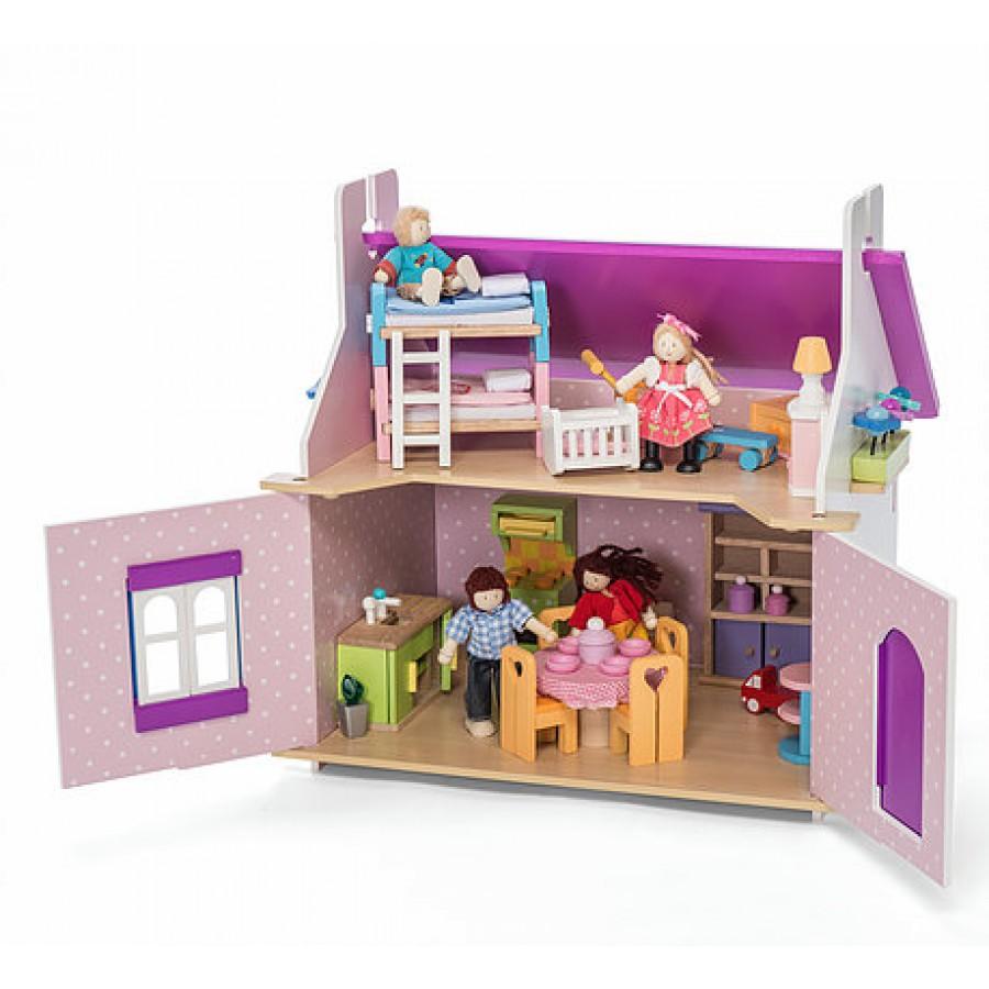 La Petite Maison D Anna Le Toy Van Mauve Fait En Bois Fleurs