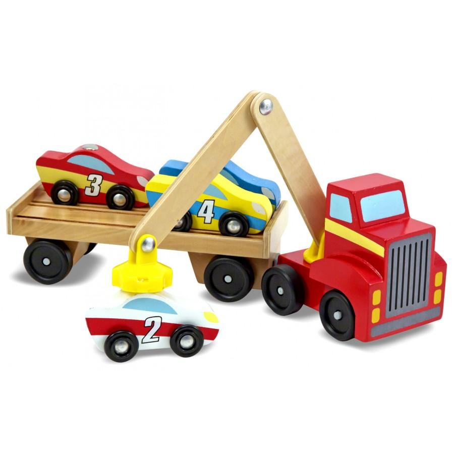 camion remorqueur magn tique de voitures en bois transporteur melissa doug jouets rouge. Black Bedroom Furniture Sets. Home Design Ideas