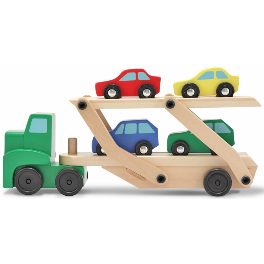 camion transporteur de voitures en bois jouets en bois jouets durable melissa doug jouet. Black Bedroom Furniture Sets. Home Design Ideas