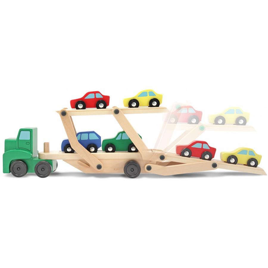 camion transporteur de voitures en bois jouets en bois jouets durable melissa doug jouet. Black Bedroom Furniture Sets. Home Design Ideas