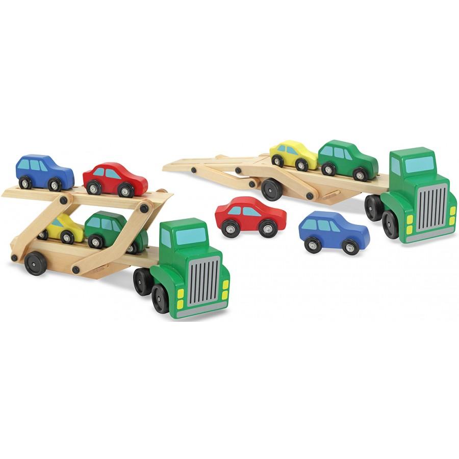Camion transporteur de voitures en bois jouets en bois for Jouet exterieur 3 ans
