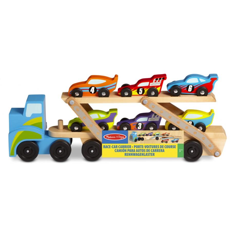 camion transporteur de voitures de course melissa doug cpe garderie bois 12759 2759. Black Bedroom Furniture Sets. Home Design Ideas