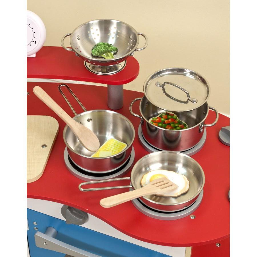 casseroles et chaudrons pour enfants en acier inoxidable jeux jouets cuisinette accessoires. Black Bedroom Furniture Sets. Home Design Ideas