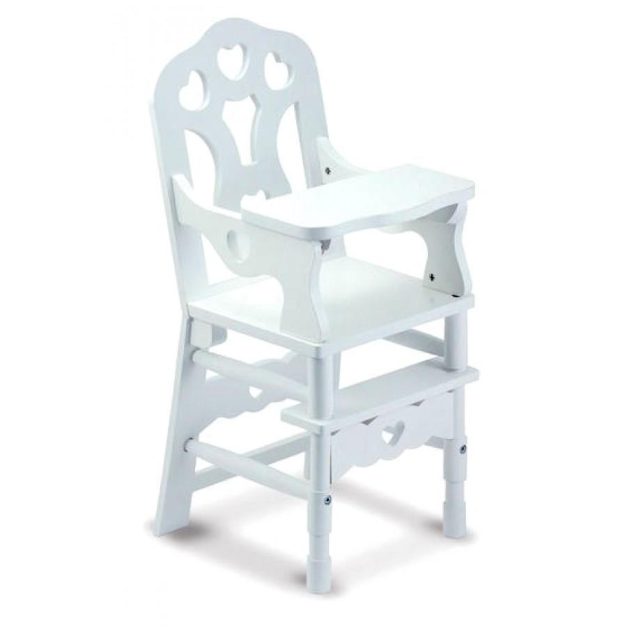 chaise haute en bois pour poup e blanche melissa doug enfants jouet jeux 3 4 ans. Black Bedroom Furniture Sets. Home Design Ideas