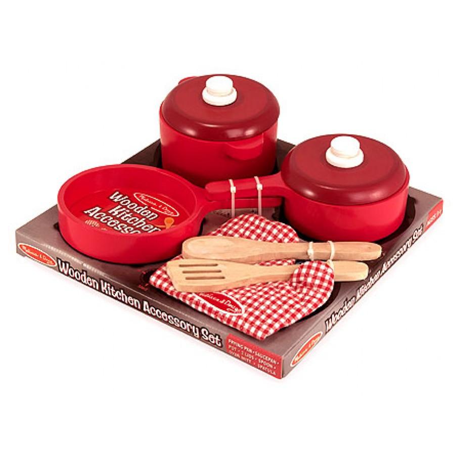 Ensemble de chaudrons et casserole rouges avec cuisini re for Cuisine bois toys r us