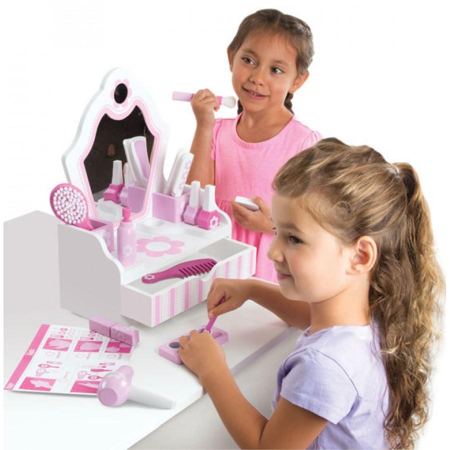 jouet coiffeuse pour petite fille homcom coiffeuse table. Black Bedroom Furniture Sets. Home Design Ideas