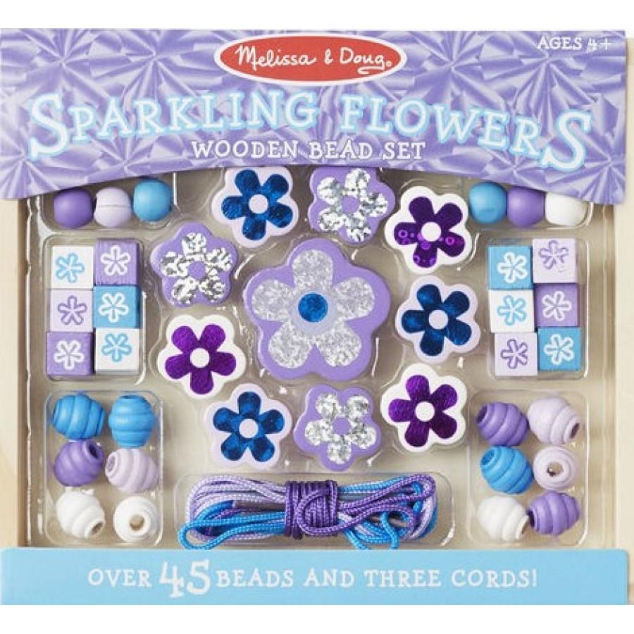 ensemble de perles scintillantes en bois fleurs melissa doug jouets art bricolage. Black Bedroom Furniture Sets. Home Design Ideas