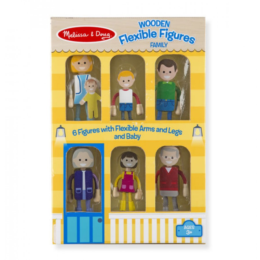 Wooden Doll Family Melissa Doug Dollhouse Father Mother Baby