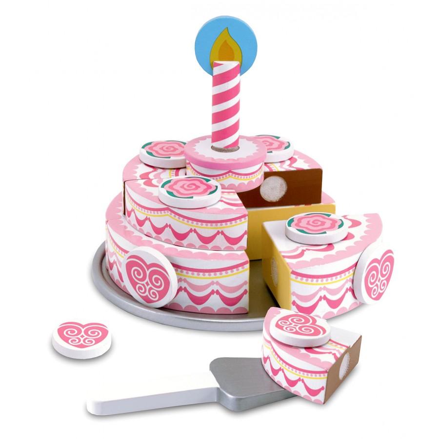 g teau d 39 anniversaire rose trancher jouet en bois fille id e cadeau f te aliments. Black Bedroom Furniture Sets. Home Design Ideas