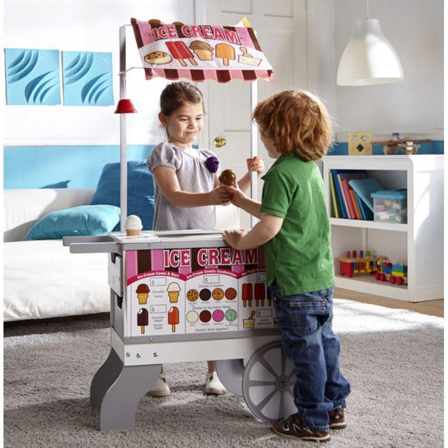 kiosque roulant cr me glac e et hot dogs bonbons friandises hot dog jouets en bois. Black Bedroom Furniture Sets. Home Design Ideas