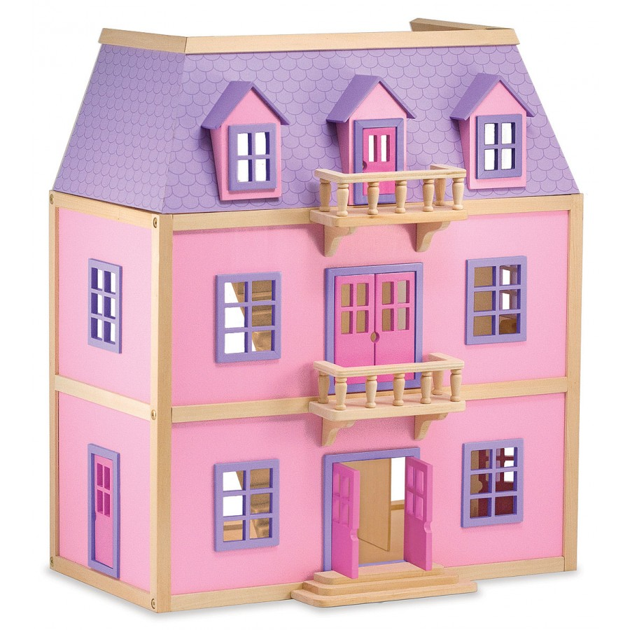 Dollhouse Multi Level Solid Wood House Princess Castle Pink Girl